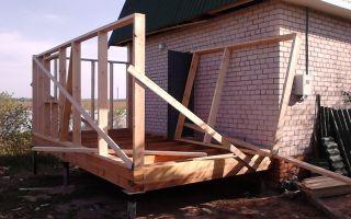 Строительство каркасной пристройки к кирпичному дому