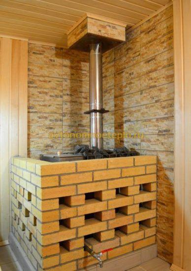 Каким раствором обложить железную печь в бане